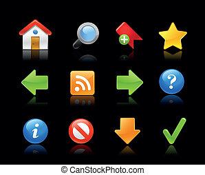 site web, icônes, -, gel, série, //, blac