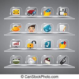 site web, icônes internet, verre, bouton