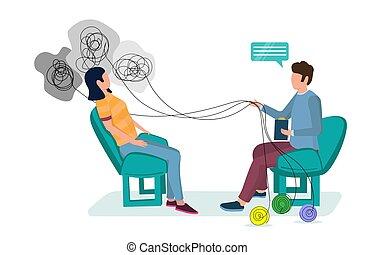 site web, indivíduo, terapia, bandeira, página, teia, vetorial, conceito