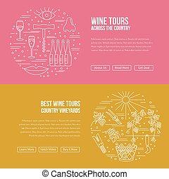 site web, industrie, atterrissage, gabarit, page, vin
