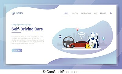 site web, intelligence, voitures, gabarit, page accueil, conduite, concept, atterrissage, artificiel, soi, ou, technologie