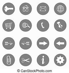 site web, jogo, ícones, -, botões, vetorial, internet