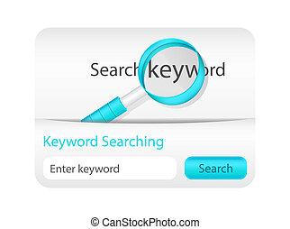 site web, keyword, procurar, elemento, vidro, magnificar