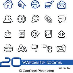 site web, //, linha, ícones, série