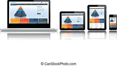 site web, múltiplo, modelo, dispositivos