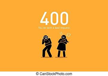 site web, mauvais, erreur, 400., request.