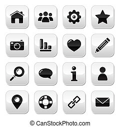 site web, menu, -, botões, h, navegação