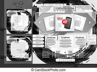 site web, menu, elementos, desenho, modelo