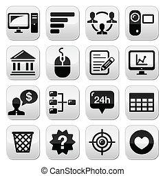 site web, menu, navegação, botões