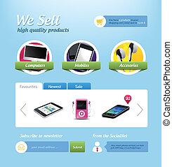 site web, mini, gabarit, e-commerce