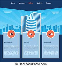 site web, modelo, cityscape, desenho