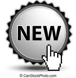 site web, novo, cromo, botão, -, sinal, cursor, app., vetorial, mão, ou, circular