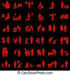 site web, pessoas, ícones, -, internet, 3d