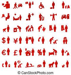 site web, pessoas, --, ícones, internet, 3d