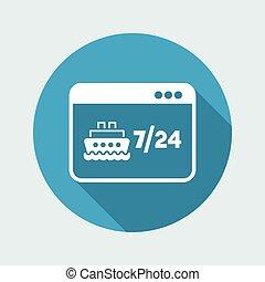 site web, plat, agence voyage, -, vecteur, bateau, réservation, icône