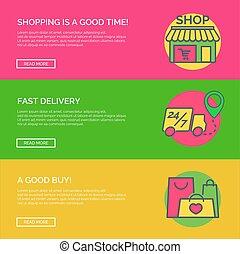 site web, plat, ensemble, achats, mobile, publicité, illustration, ligne, apps, concept, vecteur, icons., graphiques, disposition, ligne, design., bannière, page, mince