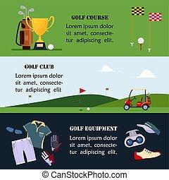 site web, plat, ensemble, golf, bannière, école, -, en-tête, championnat, accessoires, illustration, clubs, tournois, cours, jeu, vecteur, jouer golf, sport, vêtements