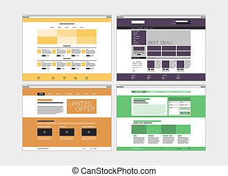 site web, plat, résumé, ensemble