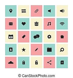 site web, plat, set., carrée, icônes