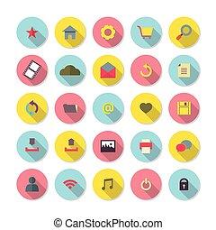 site web, plat, set., conception, icône