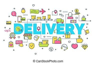 site web, plat, style, concept, art, icones affaires, concept., moderne, idée, illustration, créatif, livraison, arrière-plan., idée, vecteur, conception, banner., ligne blanche, mince