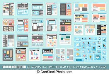 site web, plat, style, mega, collection, gabarits