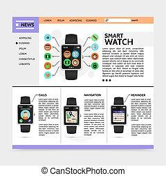 site web, plat, technologie moderne, gabarit