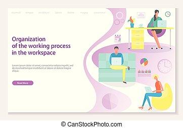 site web, processo, local trabalho, trabalhando, organização