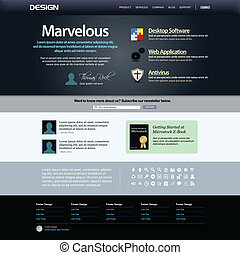 site web, projeto teia, templat, elemento