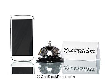site web, réservé, téléphone portable, globalisation, logement