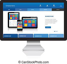site web, responsivo, modernos, computador, modelo