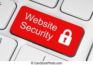 site web, sécurité, bouton, rouges
