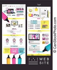 site web, simplicité, conception, page, une