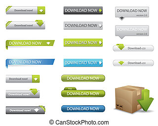 site web, téléchargement, boutons