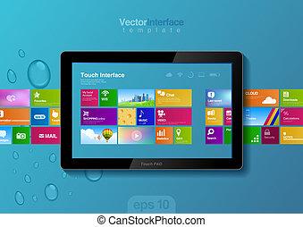 site web, tablette, boutons, pc, conception, interface., bloc effleurement, template.