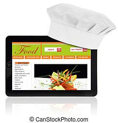 site web, tablette, recette, isolé, chef cuistot, informatique, gabarit