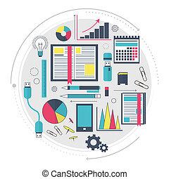 site web, technologies., process., concept, mot clé, fonctionnement, service, moderne, moteur recherche, analytics, infographics., optimization, proces., seo, icônes, ligne, données, ou, art.