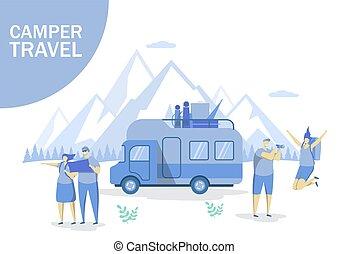 site web, teia, conceito, bandeira, viagem, campista, vetorial, página