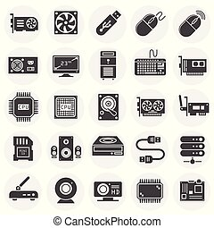 site web, teia, conceito, computador, illustration., ícones, simples, símbolo, gráfico, hardware, móvel, jogo, botão, fundo, internet, design., ou, app.