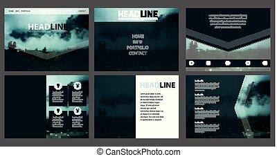 site web, teia, montanha, obscurecido, vetorial, incorporado, template., paisagem, design.