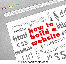 site web, toile, écran, -, comment, construire
