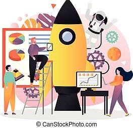 site web, toile, concept, bannière, espace, vecteur, technologies, page