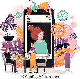 site web, toile, concept, bannière, selfie, vecteur, page