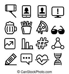 site web, toile, conceptions, technologie, plat, icônes, monde médical, -, nourriture, collection, selfie, conception, ligne, navigation, icône