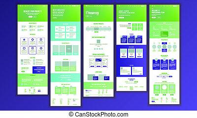 site web, toile, cyberspace., fin, business, scheme., site, illustration, style., devant, conception, atterrissage, innovation, sensible, avantages, template., blank., page