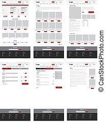 site web, toile, ensemble, disposition, plat, six, pages., conception, ecommerce, gabarit
