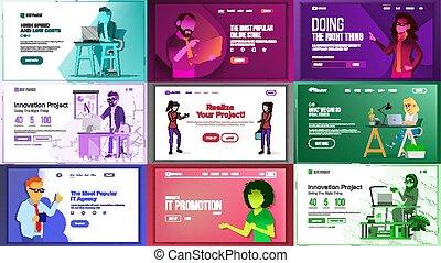 site web, toile, ensemble, fonctionnement, business, concept., atterrissage, créatif, idea., application, team., conception, illustration, vector., journal., principal, template., page