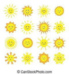 site web, toile, ensemble, icônes, mobile, soleil, symbole, pictogramme, isolé, jaune, bouton, app., été, white., collection., dessin animé, conception