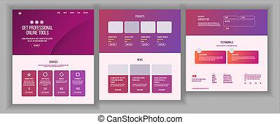 site web, toile, fin, business, menu., credit., site, illustration, style., scheme., devant, conception, atterrissage, interface, avantages, template., carte, page