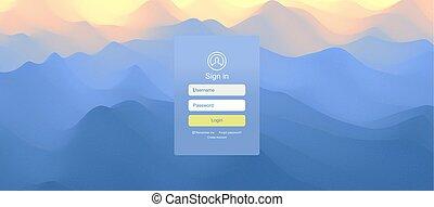 site web, toile, illustration., mobile, écran, moderne, sunrise., sunset., paysage, vecteur, conception, utilisateur, interface., login, avant, app, element., design.
